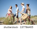 group of young people camping... | Shutterstock . vector #137786405