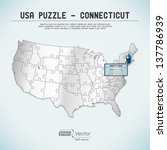 usa map puzzle   one state one... | Shutterstock .eps vector #137786939