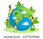 people take care about planet... | Shutterstock .eps vector #1377929504