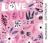romantic flat hand drawn...   Shutterstock .eps vector #1377935714