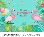 birthday card  congratulation... | Shutterstock .eps vector #1377936791