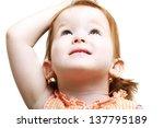 Sweet Little Girl Looking Up T...
