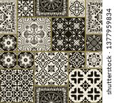 seamless patchwork tile with... | Shutterstock .eps vector #1377959834