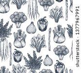 fresh vegetables seamless... | Shutterstock .eps vector #1377967991