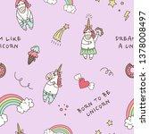 magic unicorns  clouds  rainbow ...   Shutterstock .eps vector #1378008497