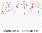 colorful confetti and ribbon... | Shutterstock .eps vector #1378009541