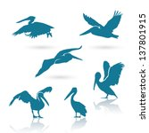 Pelican silhouettes - vector illustration - stock vector