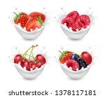 berries yogurt. berries with...   Shutterstock .eps vector #1378117181