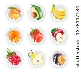 set of fruits and berries in a...   Shutterstock .eps vector #1378117184