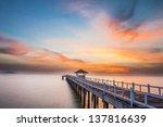 Wooden Bridge Into The Sea At...