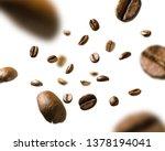 coffee beans in flight on white ... | Shutterstock . vector #1378194041