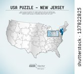 usa map puzzle   one state one... | Shutterstock .eps vector #137822825