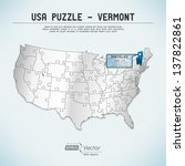 usa map puzzle   one state one... | Shutterstock .eps vector #137822861