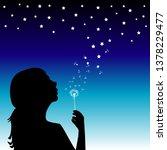 girl blowing into a dandelion... | Shutterstock . vector #1378229477