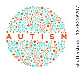 autism concept in circle ... | Shutterstock .eps vector #1378259207