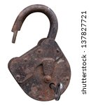 Old Open Padlock And Key....