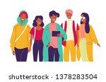 happy friends watching video...   Shutterstock . vector #1378283504