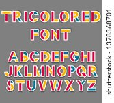 simple tricolored sticker font. ... | Shutterstock .eps vector #1378368701