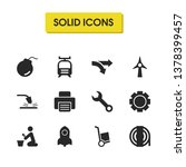 service icons set with rocket ...