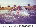 the young man swimming in the...   Shutterstock . vector #1378438121
