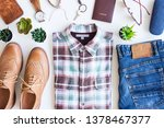 men's casual outfits with blue... | Shutterstock . vector #1378467377
