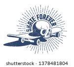 skull and skateboard retro... | Shutterstock .eps vector #1378481804
