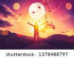 copy space man raise hand up on ... | Shutterstock . vector #1378488797