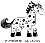 black and white toy horse... | Shutterstock .eps vector #137856491