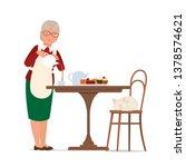 grandma pours tea. vector flat... | Shutterstock .eps vector #1378574621