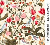 seamless pattern with  birds... | Shutterstock . vector #1378589504