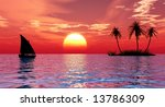 sunset coconut palm trees on... | Shutterstock . vector #13786309