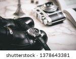 men accessories on white marble ... | Shutterstock . vector #1378643381