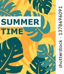 colorful summer poster with... | Shutterstock .eps vector #1378696091
