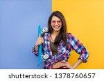 portrait of stylish pretty girl ... | Shutterstock . vector #1378760657