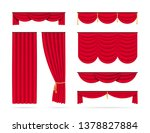 set of red realistic curtains.... | Shutterstock .eps vector #1378827884