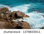 seychelles windy beach with... | Shutterstock . vector #1378833011
