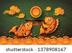 golden koi fish with fullmoon ... | Shutterstock .eps vector #1378908167