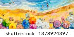 painting watercolor seascape... | Shutterstock . vector #1378924397
