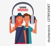 teenager couple listening to...   Shutterstock .eps vector #1378934087