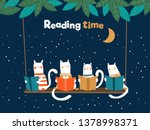 funny cats reading books on...   Shutterstock .eps vector #1378998371