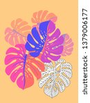 vector tropical pattern with... | Shutterstock .eps vector #1379006177