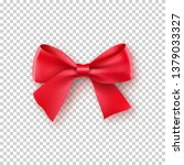 fashionable red bow with ribbon.... | Shutterstock .eps vector #1379033327