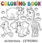 coloring book african fauna 1   ... | Shutterstock .eps vector #137903801