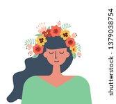 cute girl in a wreath of... | Shutterstock .eps vector #1379038754