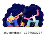 young men sitting at campfire... | Shutterstock .eps vector #1379063237