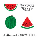 watermelon icons set on white... | Shutterstock . vector #1379119121