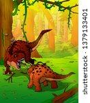 fight tyrannosaurus and... | Shutterstock .eps vector #1379133401