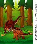 fight tyrannosaurus and... | Shutterstock .eps vector #1379133431