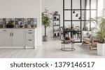 elegant kitchen and dining room ... | Shutterstock . vector #1379146517