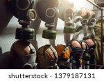 group of vintage old gas masks...   Shutterstock . vector #1379187131